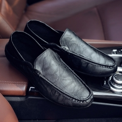2018 Men's casual driving shoes Slip-on light loafers summer leather soft moccasins flats black 39