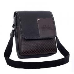 2018 Vintage Men's Shouder Bag Pu Leather Men Crossbody Bags Plaid Small Male Messenger Bags black 22cm×5cm×18cm
