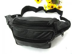 2018 Men Travel Bags Mens Leather Belt Bag Waist Pack Men Waist Bag Leather Waist bag black 33cm×13cm×10cm