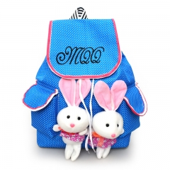 for children school bags 2 Rabbits children's backpacks Canvas Bag School knapsack blue 26cm×13cm×37cm