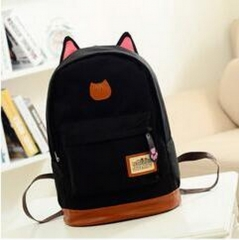 Vintage Canvas school bag for Teenage Girls School Bags Cartoon Cat Backpack Female Travel daypack black 35cm×42cm×16cm