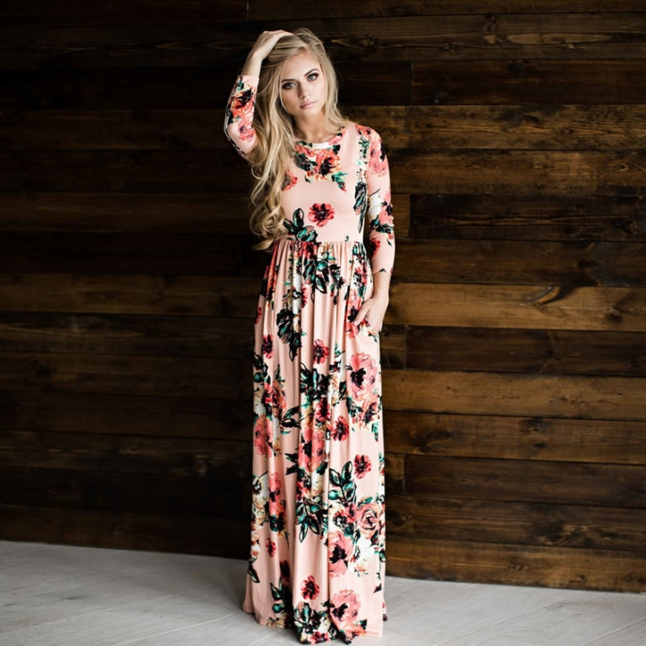 f13df547f1 2018 Summer Long Dress Floral Print Boho Beach Dress Tunic Maxi Dress Women  Evening Party Dress
