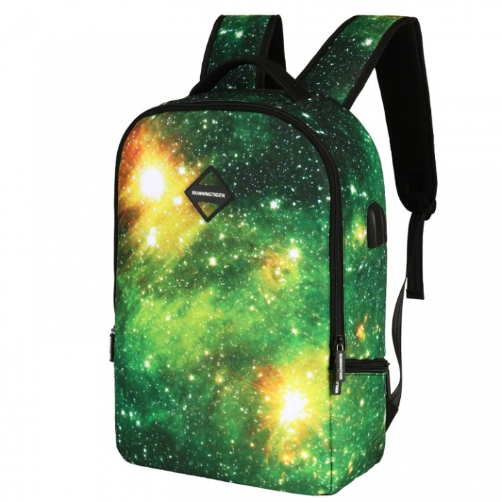 58a01b806e59 CH1505 USB Star Backpack Multifunction Headset Charging Business Travel  Backpack Green 30L