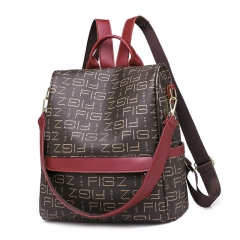 1293 Multi-function Shoulder Bag Korean Fashion Print Shoulder Slung Backpack Brown 30L