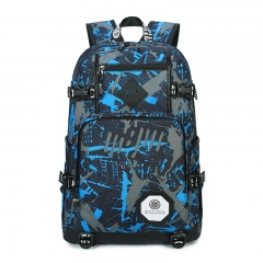 S61012 Men's Bag Nylon Oxford Cloth Backpack Large Capacity Computer Bag Waterproof Travel Bag Blue 30L
