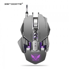 ZERODATE Mechanical Mouse A3050 Chip 3200DPI 7 Key Macro Definition Backlight Gaming Mouse Grey 128 * 80 * 39mm