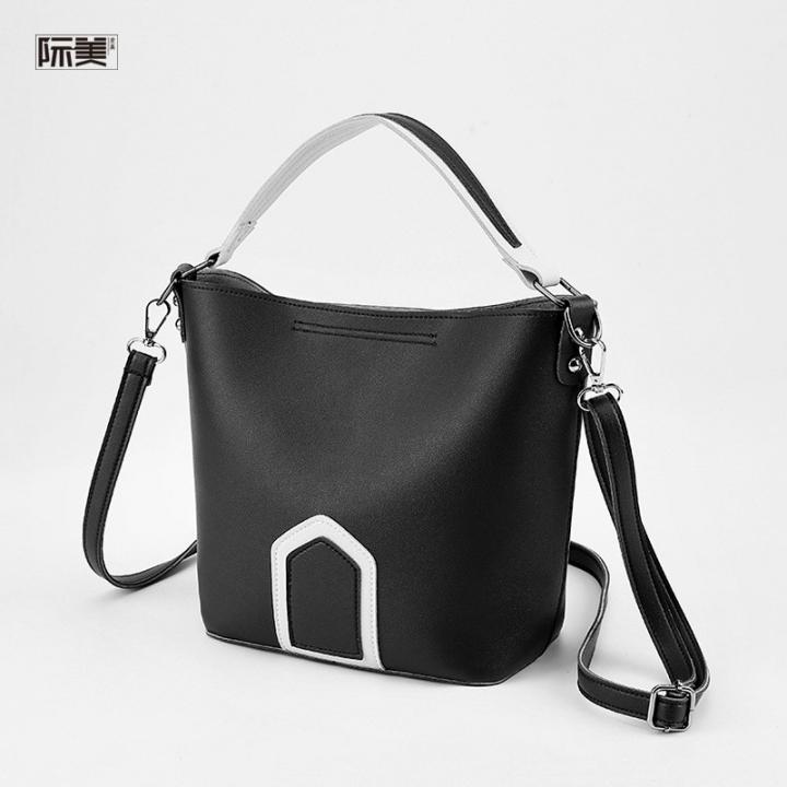 New Female Bag Hit Color Portable Messenger Bag Wide Shoulder Strap Bag Black 23 * 20 * 11cm