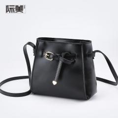 New Women's Bag Messenger Bag Wild Small Bag Ladies Shoulder Bag Belt Decoration Small Square Bag Black 18 * 17 * 8cm