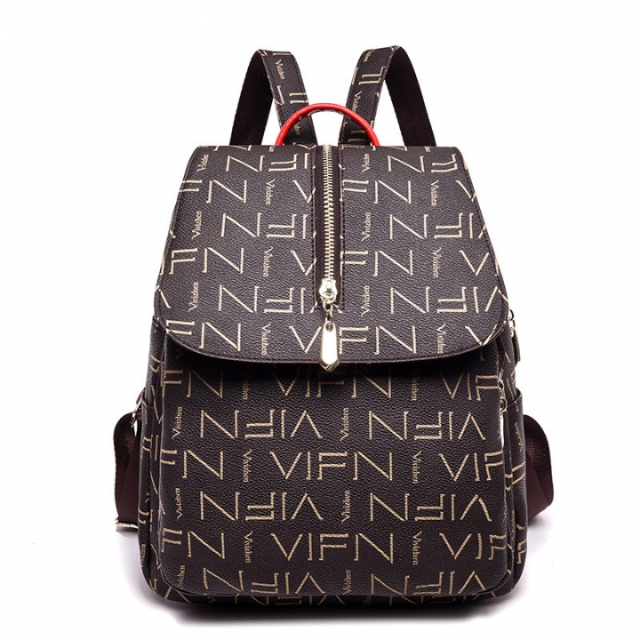 Women s Backpack Fashion Female Student Bag Wild Bag Printing Letter Ladies  Backpack Brown 32   26 e04c0e88349ec