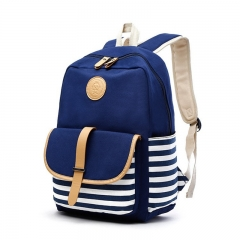 High School Students Backpack Canvas Women Bag Canvas Backpack Art Printing Canvas Bag Blue 43 * 29 * 13cm
