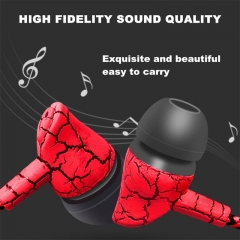 Braided Line Mobile Phone Earphones In-Ear Universal Wired Headphones Fashion Crack Style Headphones Red