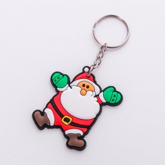Cute Santa Claus Pendant Cartoon PVC Soft Keychain Christmas Gift Car Keychain