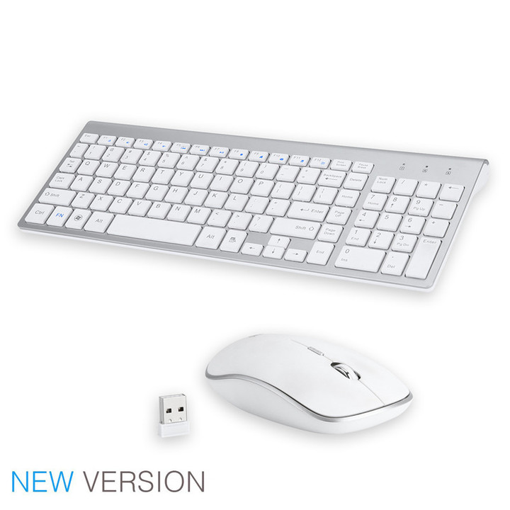 2.4G Mini Ultra-thin Wireless Mouse and Keyboard Set White