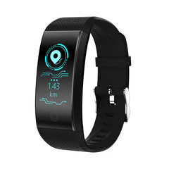 QW18 Color Screen Smart Bracelet Heart Rate Monitoring Sports Pedometer Call Information Reminder black
