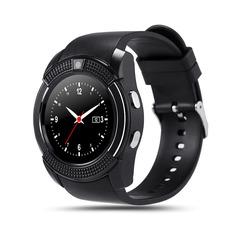Round Screen Smart Watch Adult Fashion Card Bluetooth Phone Watch black