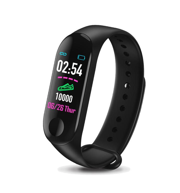 Smart watch heart rate blood pressure monitoring waterproof pedometer black