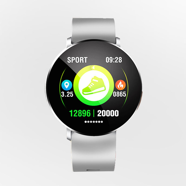 Fashion Sports Fitness Tracker Strap Heart Rate Smart Bracelet moonlight silver