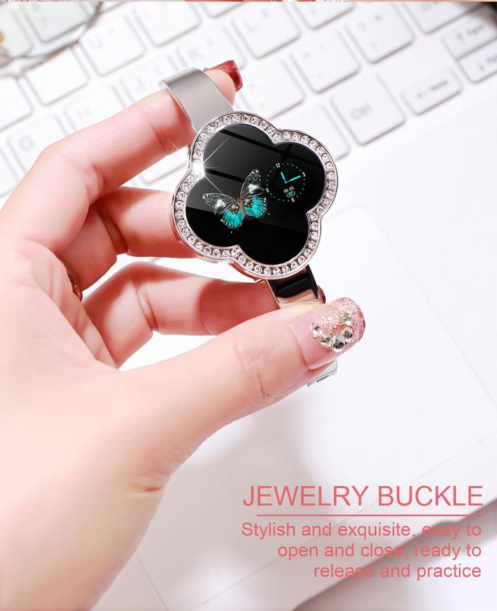Fashion Women Bluetooth Waterproof Smart Watch Heart Rate Blood Pressure Diamond Cut Crystal Watch moonlight silver