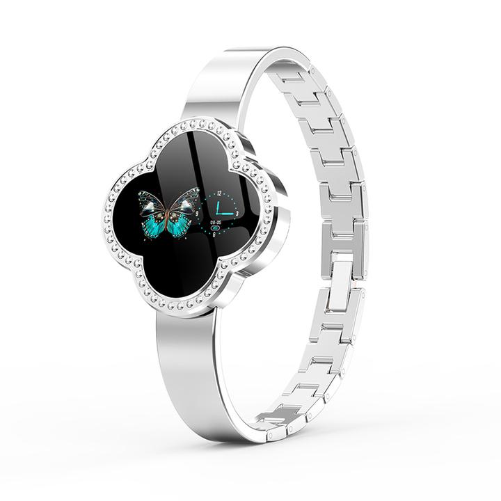 Goddess Smart Watch Bluetooth Waterproof Heart Rate Sphygmomanometer Sport Diamond Cut Crystal Watch moonlight silver