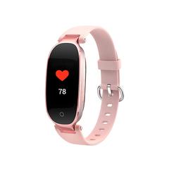 Smart Wristband Bracelet Bluetooth Waterproof HR BP Monitoring Fitness Tracker Rose powder