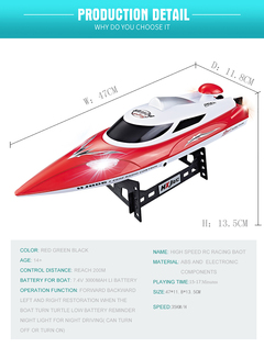 High Speed Long Running Time Remote Control Racing Boat Green RCB-806B-HXJ