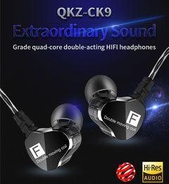 QKZ CK9 Double Dynamic Headphones Subwoofer Headphones HiFi Call Headphones Sports Headphones