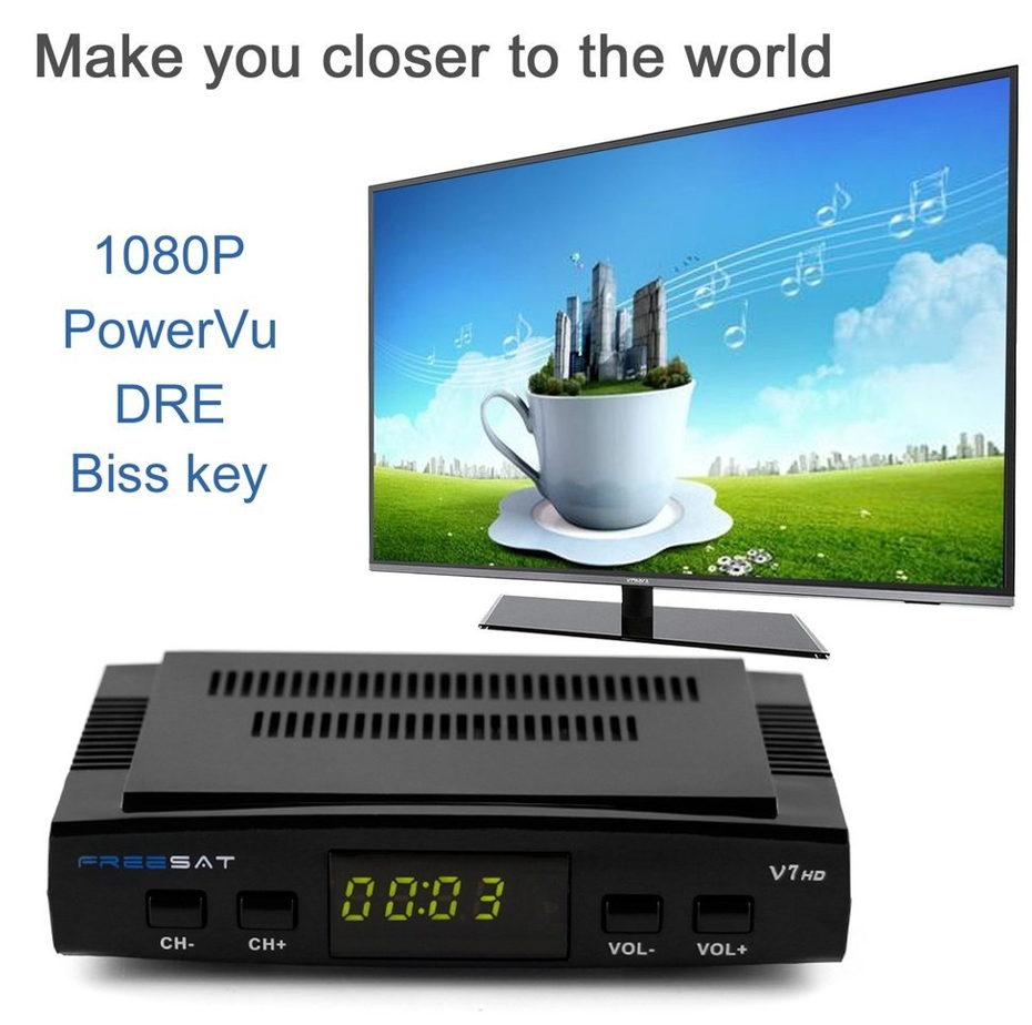 Freesat V7 DVB-S2 HD satellite TV receiver suppport Youtube Powervu CCcam  Newcamd network sharing black one size