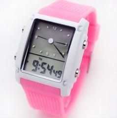 2019 Fashion watches men sports watch led dual time digital date lights casual  curren da pink  (10m Waterproof)
