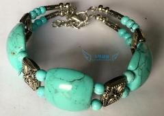 Women Fashion Pure Natural from Tibet Turquoise Agaphite Johnite Calaite Bracelet Hand Chain Bangle green M
