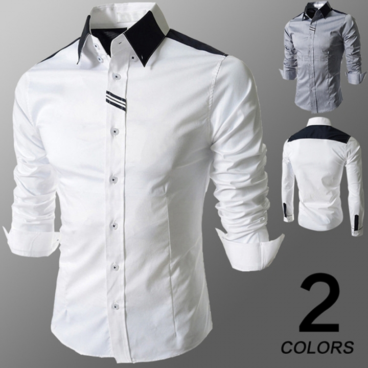 3369fd86 New fashion Men Casual Turndown Long Sleeve Slim Fit Shirts rich Brand Male  Shirt in suit