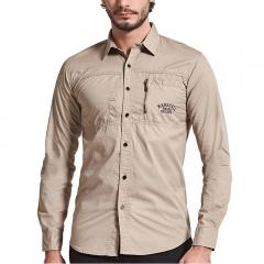 Men Fashion plus size Long Sleeve Casual Shirt slim fit turndown zipper brand male dark blue m