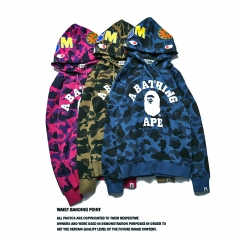 Men Fashion Hoodies swearshirts Casual Sport Fleece Hip Hop Long Sleeve Hooded bape shark cartoon blue s