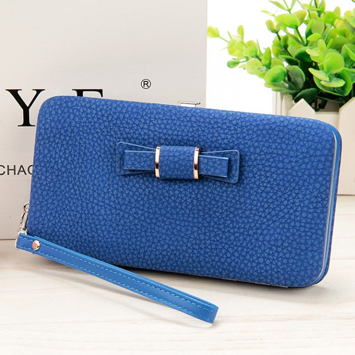 25610a684f67 Women Bowknot Wallet Long Purse Phone Card Holder Clutch Large Capacity  Pocket Blue one size