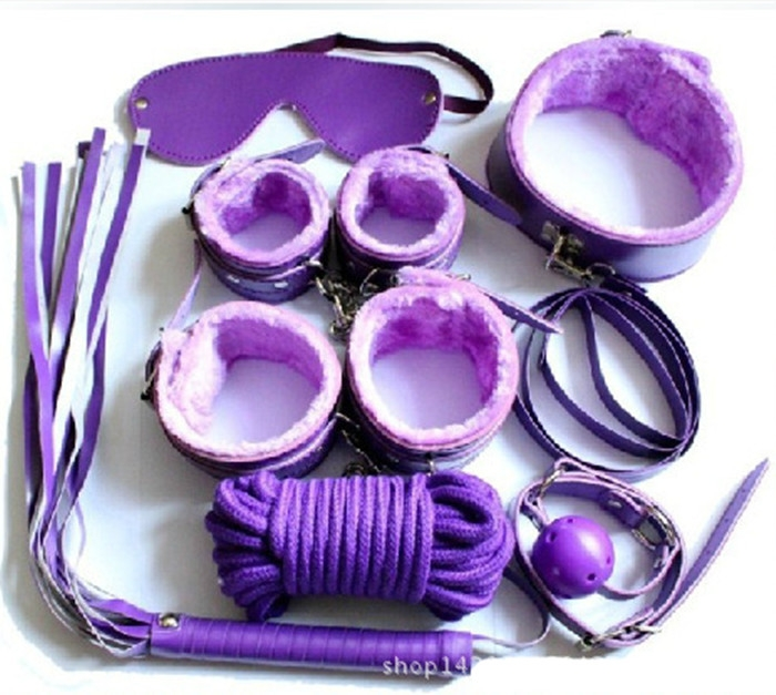 Sex Toys 7 Items Cotton Rope Handcuffs Collar String Mouth Ceppi Whip Suit Offbeat Bondage Toys purple one size