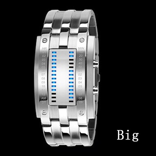 Lovers' Wristwatch Men Women Steel blue Binary Luminous LED Electronic Sport Watches Smart Watch silvery