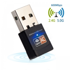 600Mbps USB WiFi Adapter 2.4GHz 5GHz WiFi Antenna PC Mini Wireless Computer Network Card Receive As shown