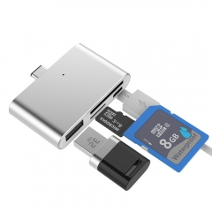 USB3.1 Type-C Card Reader USB-C to USB2.0 SD TF Micro USB Multifunction Converter Grey