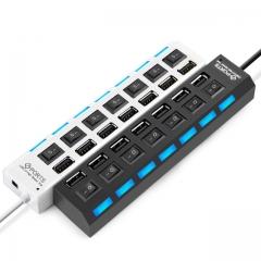 7 Ports High Speed USB Hub 480 Mbps USB 2.0 Hub On/Off Switch Hub USB Splitter white