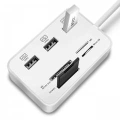 Multi Function 3 Port USB HUB Splitter Combo Card Reader Support Micro Card Read Write as shown