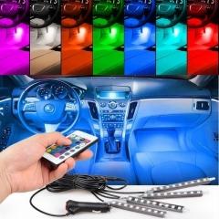 4pcs/et 7 Color LED Car Interior Lighting Kit car styling interior decoration atmosphere light