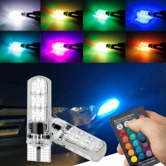 2PCS Silicone RGB led bulbs t10 194 With control 6 SMD 5050 car led light bulb t10 LED W5W flash