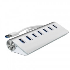 USB 3.0 Hub 7-Port Portable High Speed Aluminum USB Hub with USB3.0 Cable as shown one size as shown one size