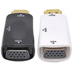 Female for HDMI to VGA Converter With Audio Cable for PC Laptop Tablet Support 1080P HDTV Adapter as shown