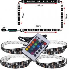 TV Backlight Strip USB Powered LED Bias Lighting PC Monitor RGB Changing Color Strip Kit