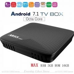 M8S PRO Android 7.1 Smart TV Box Max RAM 2GB/3GB DDR4 16GB Amlogic S912 64 Bit Octa Core