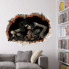 45*60cm Halloween Decoration 3d View Scary Bloody Broken Ghost Sticker