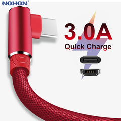 1 m 2m 90 Degree Fast Charge Data Type C Micro USB C Cable For Samsung Huawei Xiaomi Type-c red 1m