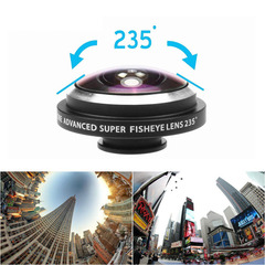 2 in 1 Camera Lens Kit Clip-On 235 Degree  Fisheye + 19X Macro Lens for iPhone Samsung Smartphone as shown one size as shown one size