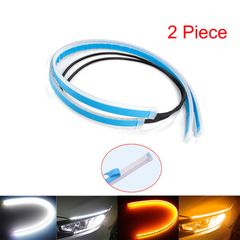 2pcs Cars DRL LED Daytime Running Lights Car Streamer Turn Signal Guide Strip Headlight