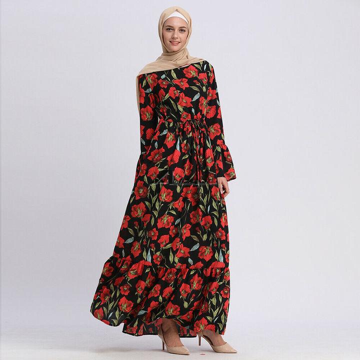 2418b362db Muslim Islamic Flower Print Bell Sleeve Long Maxi Dress Abaya Cocktail Women  Evening Dress red s
